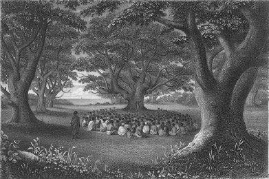 missionaries preaching under kukui groves, 1841